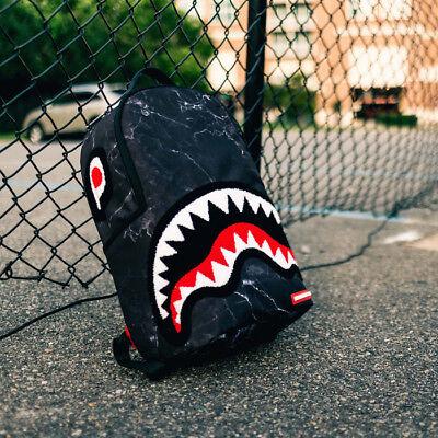 Brand New SPRAYGROUND Chenille Black Marble Shark Deluxe Bag