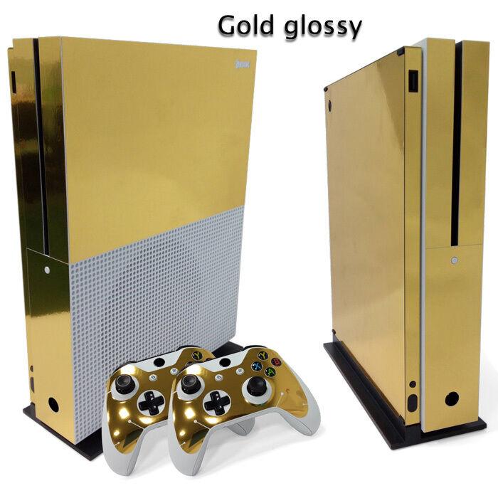 Xbox One S Gold Glossy Console & 2 Controllers Decal Vinyl S