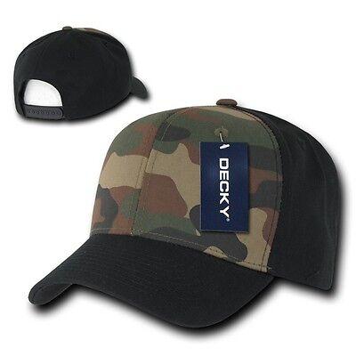 Black & Woodland Camouflage Curve Bill Snapback Camo Baseball Cap Caps Hat Hats Baseball Caps Woodland Camouflage Cap