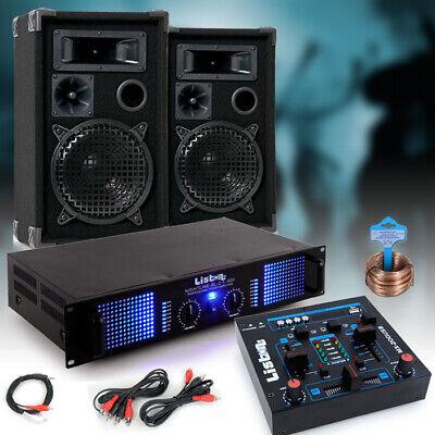 2000W Lautsprecher Paar PA Boxen Karaoke Anlage Musik Party Big Light