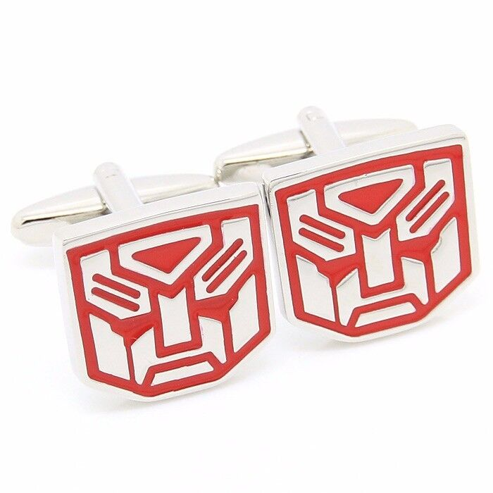 Men's Cuff Links: Red Autobot Transformers Style with Black