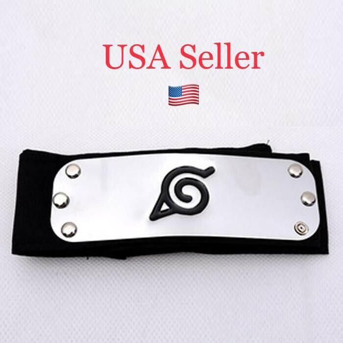 NEW Naruto Kakashi Sasuke Black Leaf Village Konoha Ninja Headband Cosplay Anime