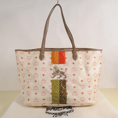 AUTHENTIC MCM Visetos Lion Shopper  Bag + Care Card + Dust Bag