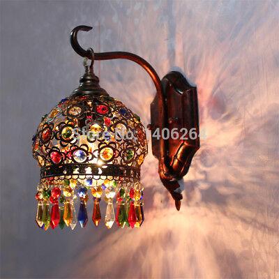 Bohemian Crystal Wall lamp Vintage Metal Cafe Bar Hall Wall Light Sconce 18CM Hall Crystal Sconce