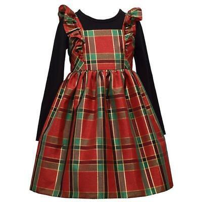 BONNIE JEAN Little Girl's 5 Red/Green Plaid Jumper Dress Set NWT