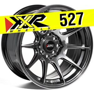 XXR 527 15x8.25 4-100/4-114.3 +0 CHROMIUM BLACK WHEELS RIMS HYPER BLACK Set of 4