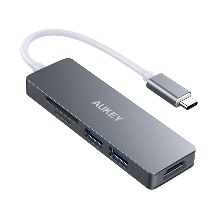 AUKEY Slim USB C HUB, Type C to HDMI 4K UHD Adapter, SD/Micro SD Card Reader