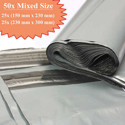 50 Grey Strong Plastic Mailing & Packaging Postal Bags Mixed Size FREE POSTAGE