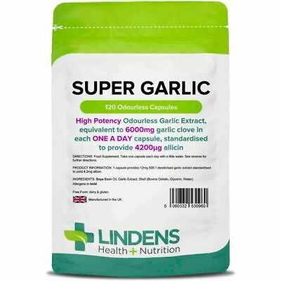 Super Strength Garlic 6000mg Odourless 120 capsules oil softgels