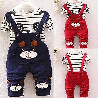 Toddler Newborn Baby Boys Girl Tops T-shirt+Bib Pants Party Outfit Clothes AB