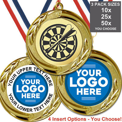 DARTS METAL MEDALS BIG 70mm, PACK OF 10 RIBBONS INSERTS OWN LOGO & TEXT ()