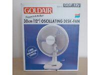 "Goldair Oscillating Desk Fan 12"" - good condition. Original box."