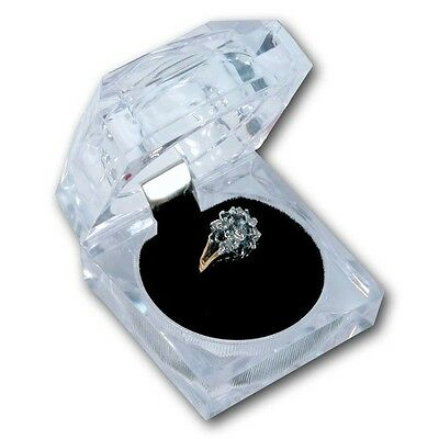 Deluxe Square Clear Acrylic Crystal Ring Gift Box W Black Velvet Insert 1pc.