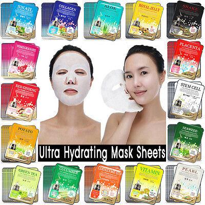 100 PCS Korean Essence Facial Mask Sheet, Moisture Face Mask Pack Skin Care Lots