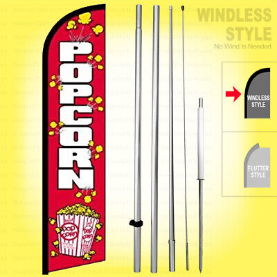 Popcorn - Windless Swooper Flag Kit 15 Feather Banner Sign Rainbow Rf-h