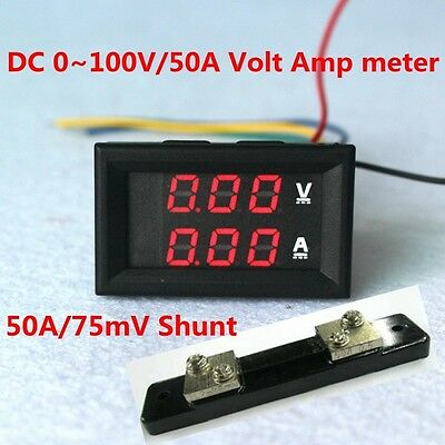 2 In 1 Dc Volt Amp Meter 0.28 Dc 0-100v50a Red Display With Ampere 50a Shunt