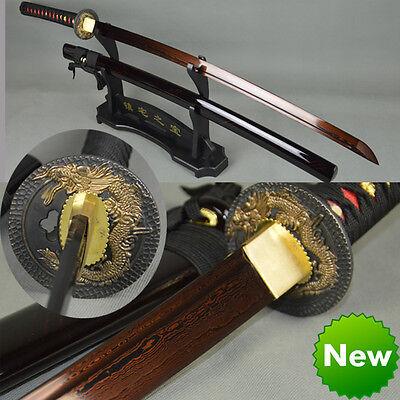 DAMASCUS FOLDED STEEL KATANA HANDMADE JAPANESE SAMURAI  SWORD FULL TANG SHARP