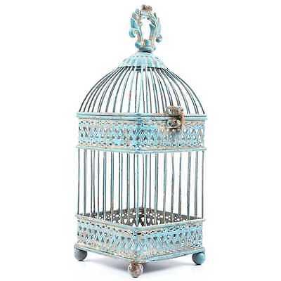 Blue Iron Bird Cage Gorgeous Antique Style Home Decor