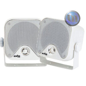 NEW Outdoor Marine Speakers AXIS 50Watt 2-Way Quality Audio 4ohm Boxed External