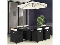 Rattan 6 Seater Cube Outdoor Garden Table and Chairs in Black + FREE Waterproof Cover Included