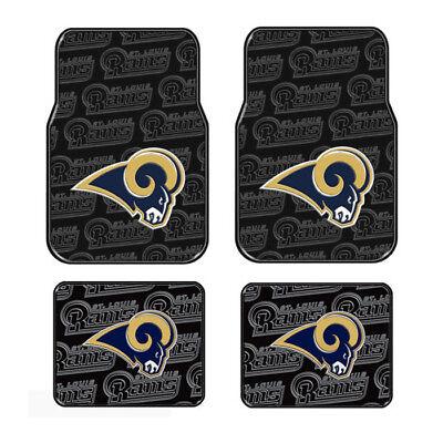 4pc Set NFL St. Louis Rams Front Back Car Truck Rubber Vinyl Floor Mats ()