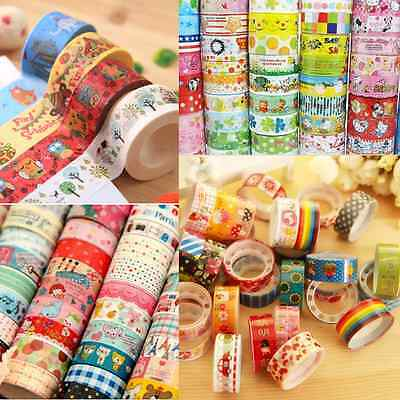 Washi Tape Wholesale (Wholesale Catoon 10 Rolls Paper Sticky Adhesive Sticker Decorative Washi)