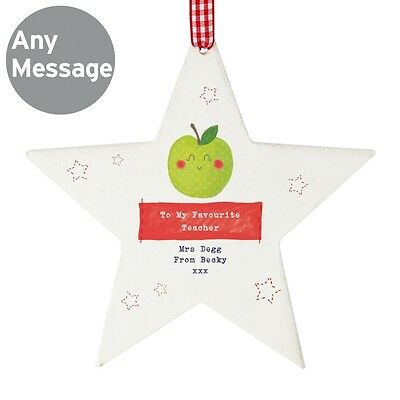PERSONALISED APPLE TEACHER THANK YOU GIFT TEACHERS CHRISTMAS STAR PRESENT IDEA