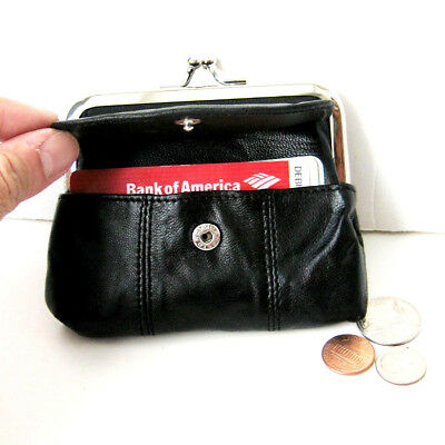 Black Woman Leather Large Clasp Coin Purse Flap Card ID holder U.S (Flap Coin Purse)