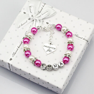 New name Personalised Girl baby Birthday Gift Charm Bracelet Daughter With Box