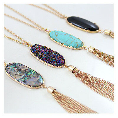 Womens Fashion Big 2 Oval Abalone Druzy Stone Tassel Pendent Necklace Long