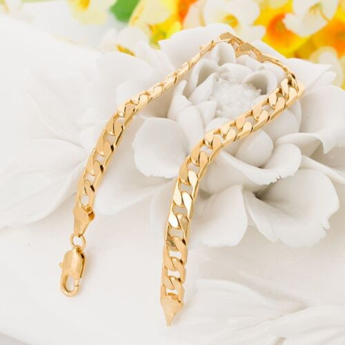 18K Yellow Gold Filled Unisex Bracelet Curb Chain Link GF Fashion Jewelry e