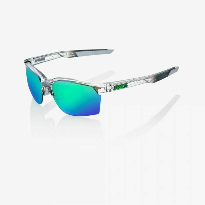 100% Sportcoupe Sunglasses: Polished Translucent Crystal Grey w/Green Multilayer