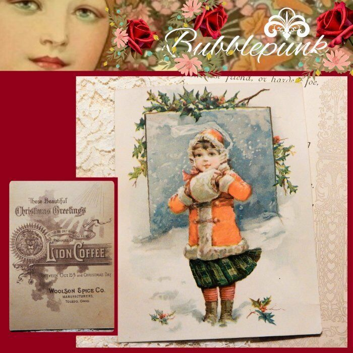 Antique LION COFFEE Woolson Spice Co Toledo Ohio Ad Trade Card Christmas Girl D