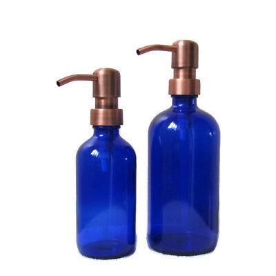 Cobalt Blue Glass Soap Dispenser Set 16oz and 8oz with Antique Copper Soap Pumps Cobalt Blue Glass Pump