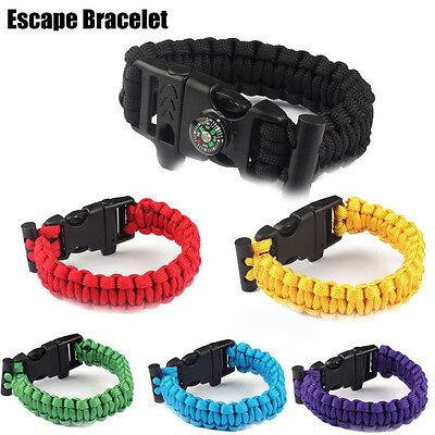 Survival Paracord Bracelet Rope Flint Whistle Compass Outdoor Accessories Set