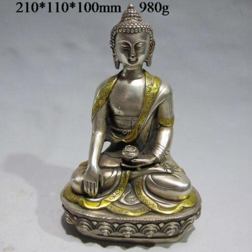 Tibet Tibetan Buddhism Silver Bodhisattva Kuan Yin Buddha Statue