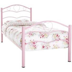 Pink heart metal bed with mattress