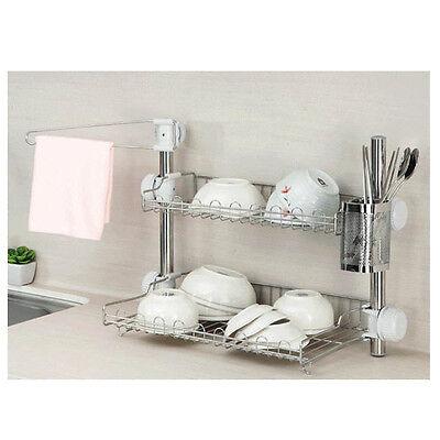 Stainless Steel Stand Dish Drying Rack 2 Shelf Sink Kitchen Storage Organizer