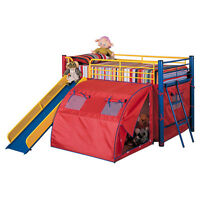 Very Cool Boy's Low Loft Bed with Slide and Tent