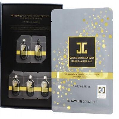 [JAYJUN] Gold Snow 5 Black Mask and 5 Serum Treatment, High Quality Facial Mask - Black And Gold Masks