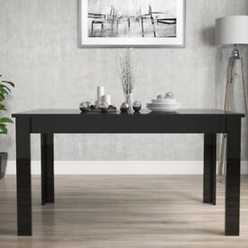 Brand New Vivienne Extendable Rectangle Dining Table in Black High Gloss - 4 Seater