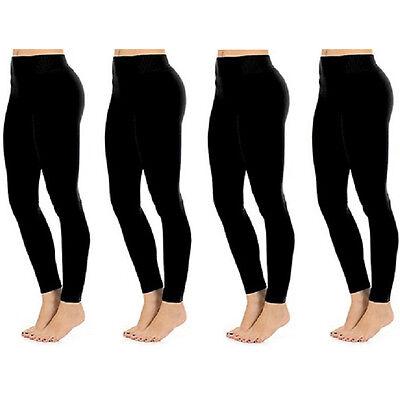 4-Pack Women's Seamless Full Length Midnight Black Leggings - One Size