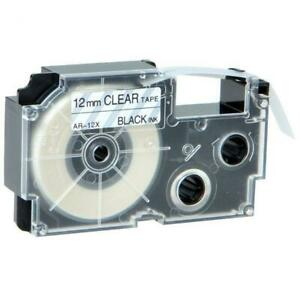 Weekly Promo! Casio XR-12X Label Tape, 12mm, Black On Clear,  Compatible