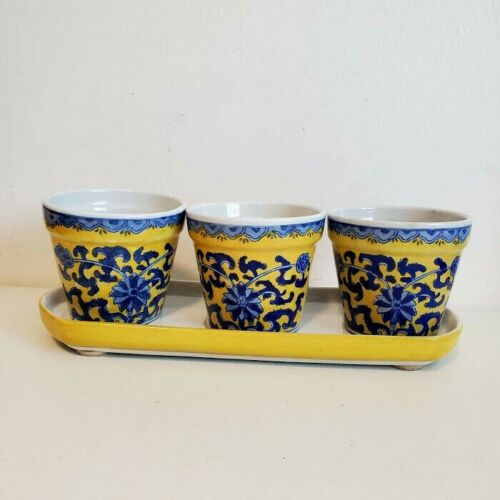 Vtg Chinese Yellow Ground Underglaze Blue Floral Porcelain Planter Pots and Tray