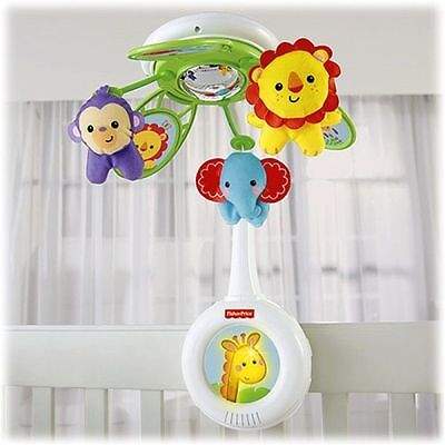 New Fisher Price Rainforest Friends Deluxe Musical Crib Mobile W Domed Mirror