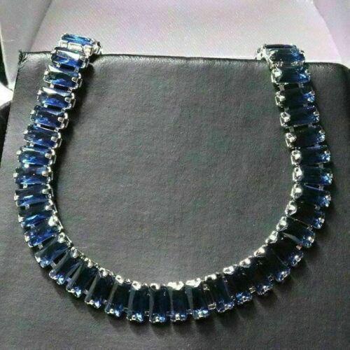 Baguette Blue Sapphire Tennis Bracelet Women Jewelry White Gold Plated