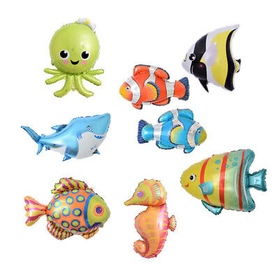 Fish Helium Balloons (Giant Under The Sea Foil Balloons Many Fish Birthday Party Decorations)