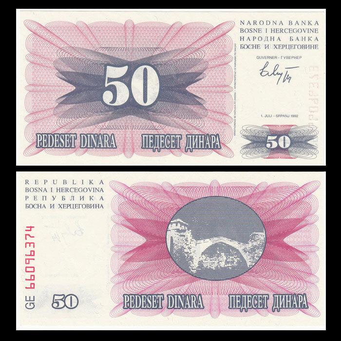 P-12 Lot 10 PCS banknote 1992 Bosnia /& Herzegovina 50 Dinara UNC
