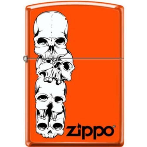 Zippo Lighter - Skulls Stacked With Logo Neon Orange - 853939