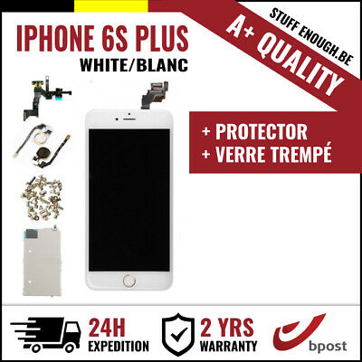 A+ LCD SCREEN SCHERM ÉCRAN ASSEMBLY WHITE BLANC + VERRE TREMPÉ IPHONE 6S PLUS